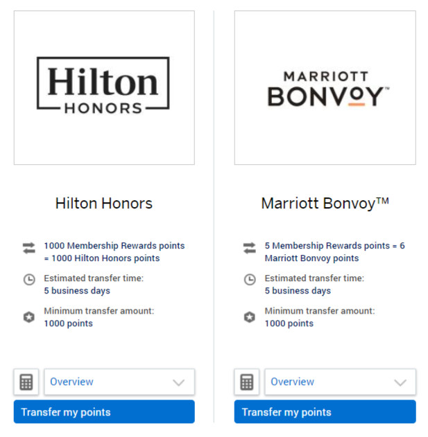 American Express hotel transfer partners