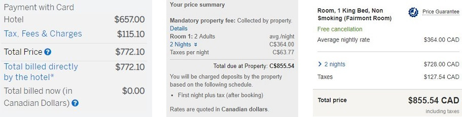 Fairmont Royal York Hotel Prices
